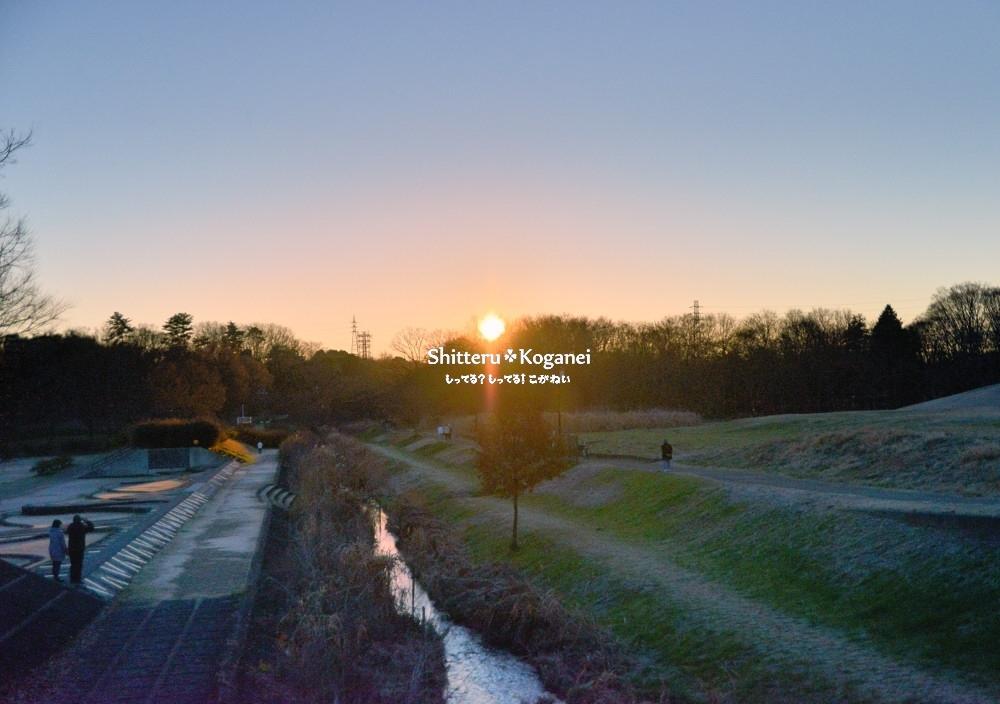 武蔵野公園・野川の小金井新橋から見える初日の出2