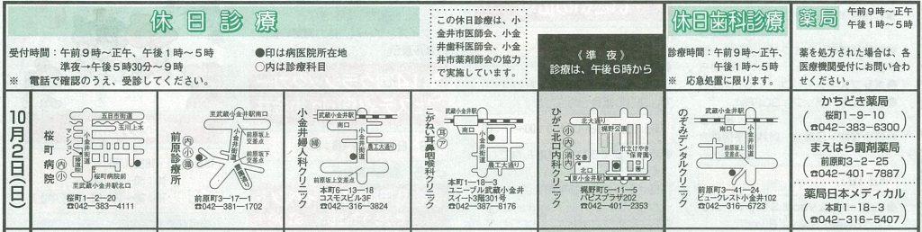小金井市休日診療TOP_20161002