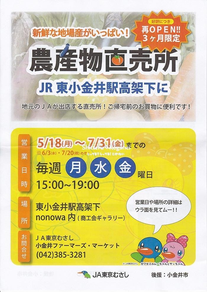 農産物直売所 in 東小金井駅高架下