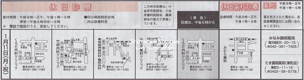 小金井市休日診療20160111